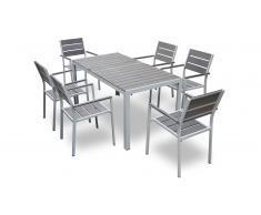 Mesa de comedor de aluminio + 6 sillas para el jardín - Giany