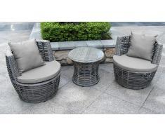 Salón de jardín moderno Valina 2 sillones + mesa de centro