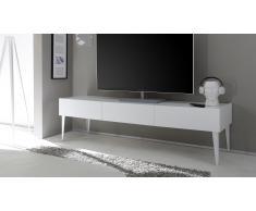 Mueble TV de diseño 3 cajones lacado mate blanco Galatik