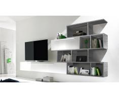 Mueble TV de pared lacado blanco con biblioteca - Athyn