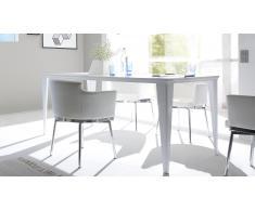 Mesa de comedor rectangular lacada blanco mate 180 cm - Galatik