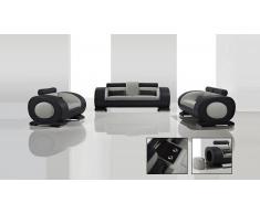 Salón de piel de diseño Capsule sofá 3p, sofá 2p, sillón 1p con puf