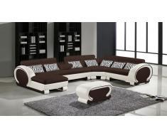 Okyo - Sofá de ángulo panorámico moderno de piel con puf de regalo