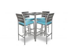 Mesa alta en aluminio cepillado con 4 sillas altas de jardín - Dazzio
