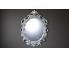 Espejo oval estilo barroco, color plateado - Calinka