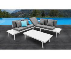 Sofá de ángulo de jardín + mesa de centro de aluminio - Piaxa