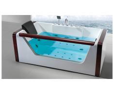 Bañera hydromassante de acrílico, vidrio y madera - Monica