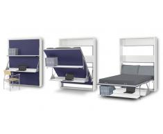 Matrix - Cama doble plegable con escritorio y estantes