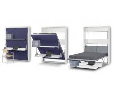 Matrix - Cama doble plegable con escritorio y estantes