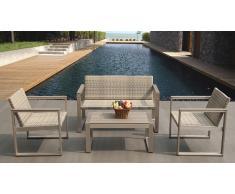Salón de jardín sofá 2 plazas + 2 sillónes + mesa de centro - Pinnath