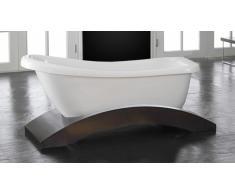 Bañera isla de diseño con pie de madera - Linda