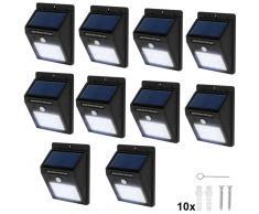 TECTAKE 10 focos solares LED con sensor de movimiento