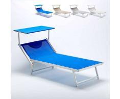 BEACH AND GARDEN DESIGN Tumbona de playa grande profesional aluminio parasol piscina ITALIA Azul