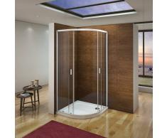 AICA SANITAIRE Cabina de ducha semicircular mamparas de baño 6mm vidrio templado 80x80cm con