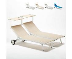 BEACH AND GARDEN DESIGN 2 Tumbonas con Ruedas Aluminio Patio Piscina Playa ALABAMA Stock 2 Piezas