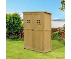 Outsunny Caseta de Jardinería para Herramientas Madera 127,5x50x164cm Madera
