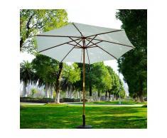 OUTSUNNY Sombrilla Parasol Blanco Crema Madera Terraza Playa Jardin Piscina Camping