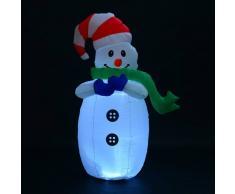 HOMCOM Muñeco de Nieve Inflable 55x45x120cm Luces Navidad LED Jardin Decoracion Blanco