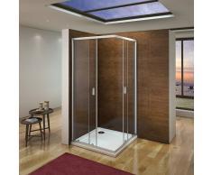 AICA SANITAIRE Cabina de ducha mamparas de ducha corredera puerta 6mm Easyclean cristal Aica