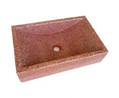 TERRAZOS CANTALEJO Lavabo de Piedra Rectangular Rojo