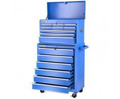 GREENCUT Carro para herramientas PRO armario acero 4 ruedas 16 cajones Azul -