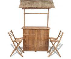VIDAXL Set barra de bar hecha de bambú con 2 sillas - VIDAXL