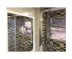 STRATEGY PRODUCTS Mampara enrollable para ducha con cajón izquierda y cierre derecha perfil