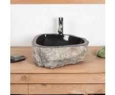 WANDA COLLECTION Lavabo encimera grande para cuarto de baño ROCA de mármol negro