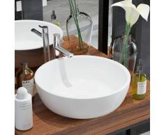 vidaXL Lavabo redondo de cerámica 42x12 cm blanco