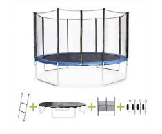 ALICE'S GARDEN Cama elastica 370cm, hasta 150kg, kit completo, trampolin Azul, Saturne XXL