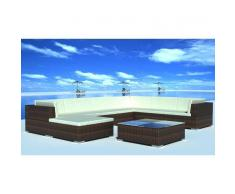 vidaXL Conjunto muebles jardin modular de mimbre sintético marrón, 24 pzs
