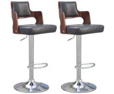 vidaXL Taburetes de bar 2 uds cuero artificial negro asiento cuadrado