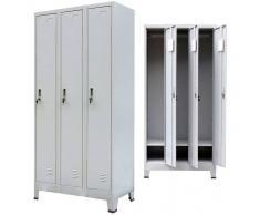 vidaXL Armario taquilla con 3 compartimentos acero 90x45x180 cm gris