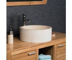 WANDA COLLECTION lavabo sobre encimera para cuarto de baño de mármol ELBA crema 40 cm