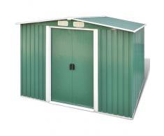 vidaXL Caseta de almacenamiento de jardín con base verde