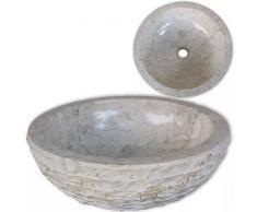 VIDAXL Lavabo de mármol Crema 40 cm