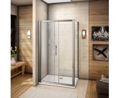 AICA SANITAIRE Cabina de ducha mamparas de baño corredera puerta cristal templado 110x80x185cm