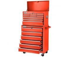 GREENCUT Carro para herramientas PRO armario acero 4 ruedas 16 cajones Rojo -