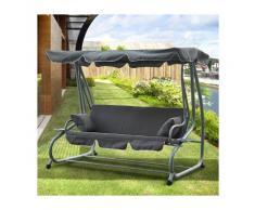 OUTSUNNY Columpio tipo Balancín de Jardín con Techo Parasol - 3 asientos Reclinables -