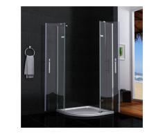 AICA SANITAIRE Cabina de ducha semicircular mamparas de baño 6mm cristal templado 90x90cm
