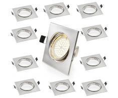 [Lux.pro] ® Set de 10 focos techo empotrables marco cuadrado casquillo GU10