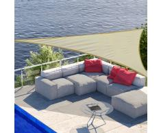 OUTSUNNY Toldo Vela 5x5x5m Triangulo Color Crema Sombrilla Parasol Terraza Jardin Camping
