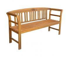 vidaXL banco de jardín de madera de acacia con rosa tallada en madera