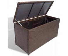 VIDAXL Arcón de almacenamiento para jardín poli ratán marrón