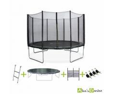ALICE'S GARDEN Cama elastica 370cm, hasta 150kg, kit completo, trampolin Verde, Saturne XXL