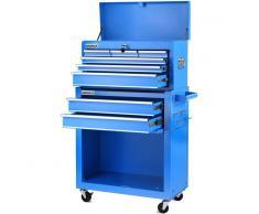 GREENCUT Carro para herramientas PRO armario acero 4 ruedas 10 cajones Azul -