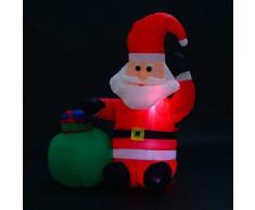 HOMCOM Papa Noel Inflable 70x45x120cm Luces LED + Bolsa Regalo Decoracion Navidad Santa