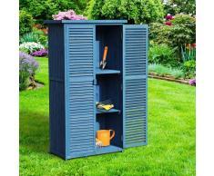 Outsunny Cobertizo de Jardinería con Persiana Madera Azul 87x46,5x160cm Azul