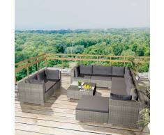 vidaXL Conjunto de sofás de jardín 32 piezas poli ratán gris