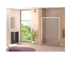 DECORBAN Mampara Ducha PALENCIA2 Frontal 1 fijo 1 puerta corredera vidrio transparente